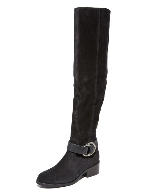 Frye | Black Kristen Harness Over The Knee Boots | Lyst
