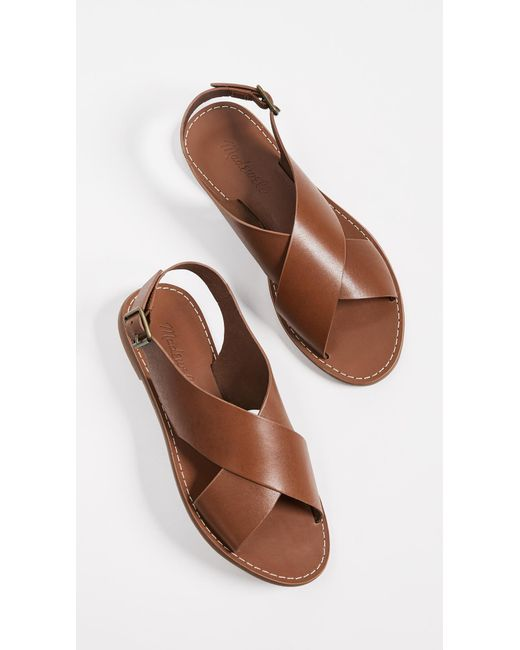 1d34d99e12f54a ... Madewell - Brown Boardwalk Crossover Sandals - Lyst ...