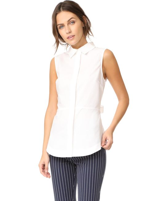 10 Crosby Derek Lam | White Sleeveless Shirt With Lace Up Back | Lyst