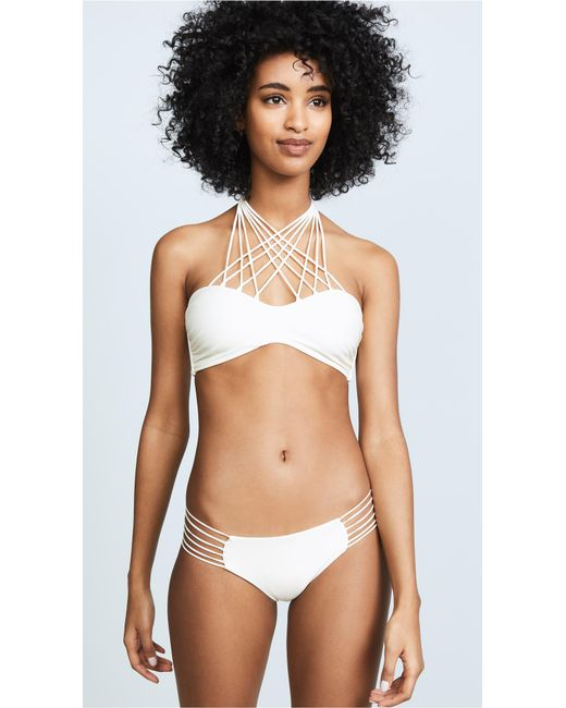 Mikoh Swimwear | White Kahala Crisscross Halter Bandeau Bikini Top | Lyst