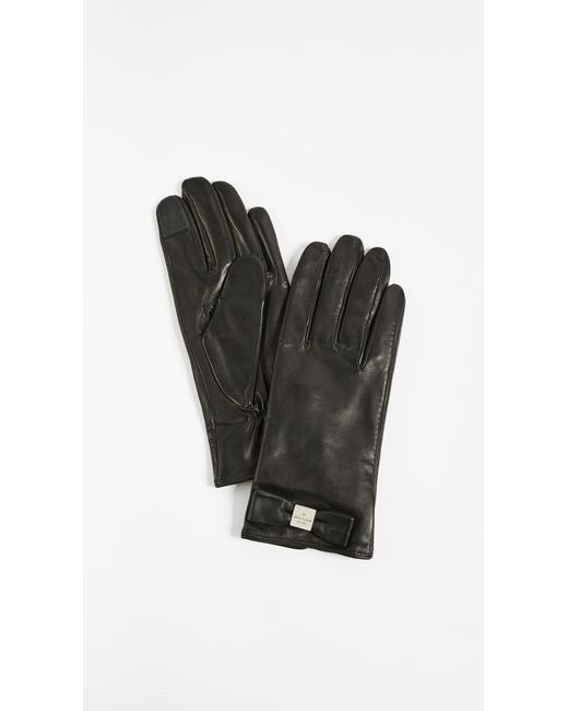 Kate Spade - Black Hardware Bow Tech Gloves - Lyst