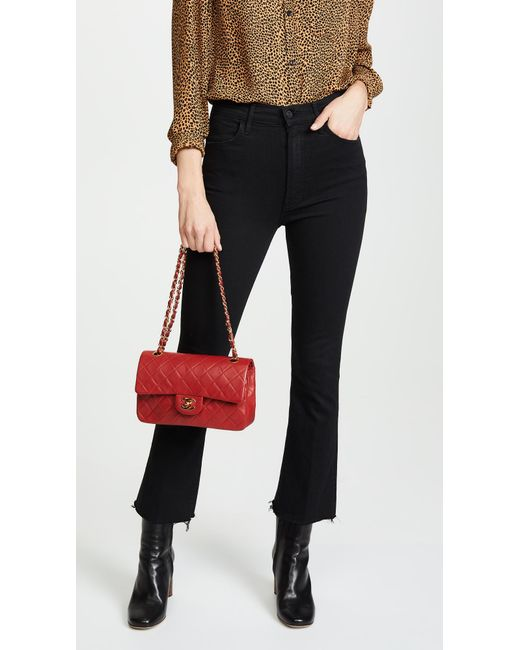 e61c0410cba9 ... What Goes Around Comes Around - Chanel Red Lambskin Classic Flap Bag -  Lyst ...