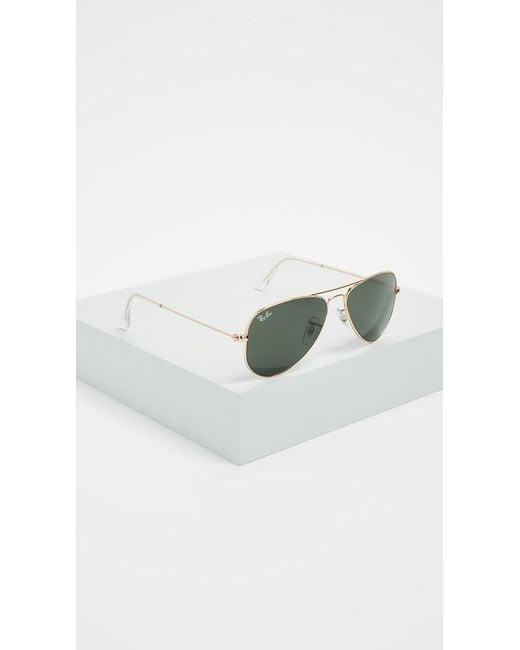 8ae7d593fe ... Ray-Ban - Green Rb3044 Classic Aviator Sunglasses - Lyst ...
