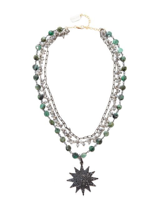 Ela Rae | Multicolor Three Layer Emerald Coin Necklace | Lyst