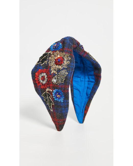 NAMJOSH Blue Floral Embellished Plaid Headband