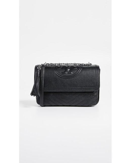 30d50dc3c56 Tory Burch - Black Fleming Distressed Flap Shoulder Bag - Lyst ...