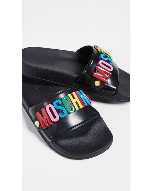 Moschino - Black Slides - Lyst