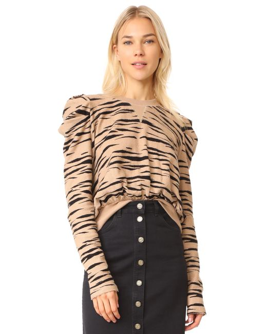 Free People | Brown Zaza Zebra Pullover Top | Lyst