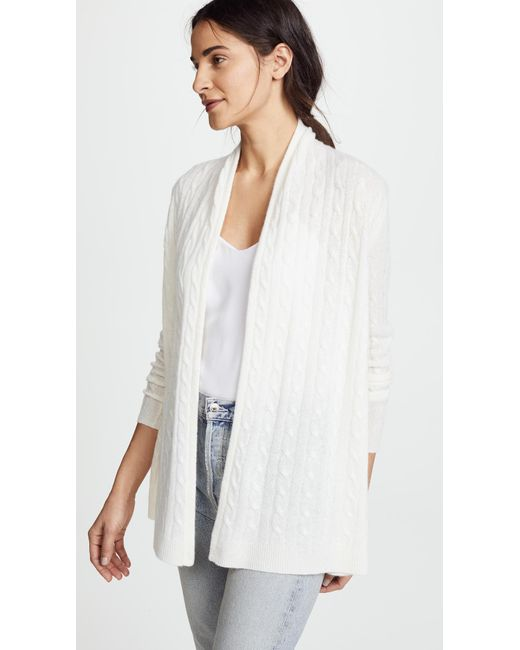 White + Warren - White Cable Cardigan - Lyst