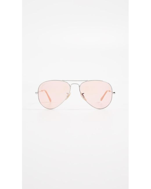 Ray-Ban Pink Rb3025 Classic Aviator Evolve Sunglasses