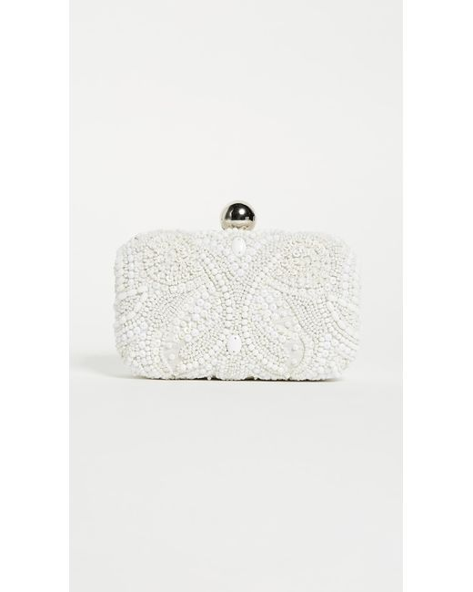 Santi White Box Clutch With Embroidered Beading