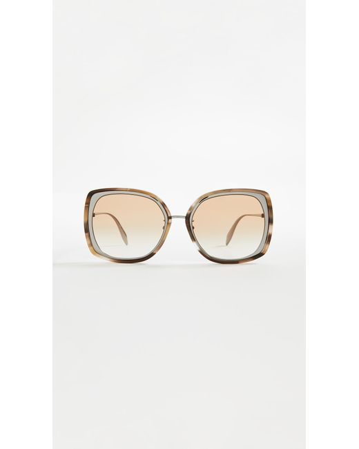 Alexander McQueen - Brown Sculpted Metal Square Sunglasses - Lyst