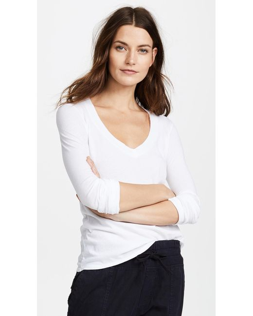 James Perse | White Long Sleeve V Neck Tee | Lyst
