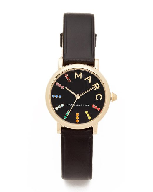 Marc Jacobs | Black Small Roxy Leather Watch | Lyst