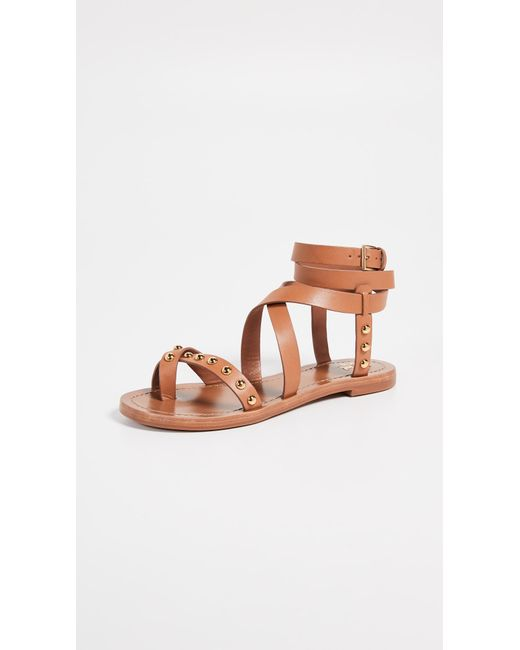 482ff98d74bf Tory Burch - Brown Ravello Studded Ankle Wrap Sandals - Lyst ...