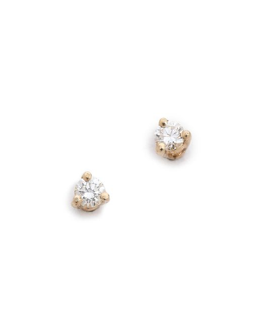 Blanca Monros Gomez - White Diamond Stud Earrings - Lyst