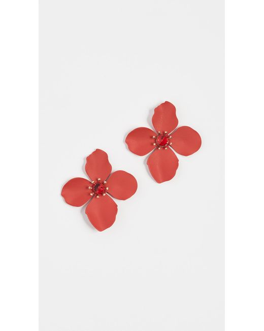 Shashi - Red Large Flower Stud Earrings - Lyst