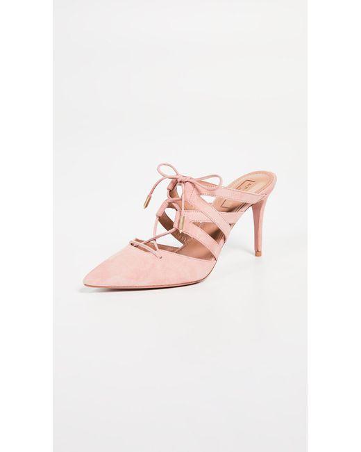 Aquazzura - Pink Belgravia 85mm Mules - Lyst