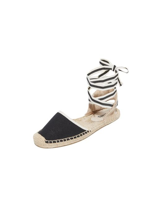 Soludos | Black Classic Ankle Tie Espadrille Flats | Lyst