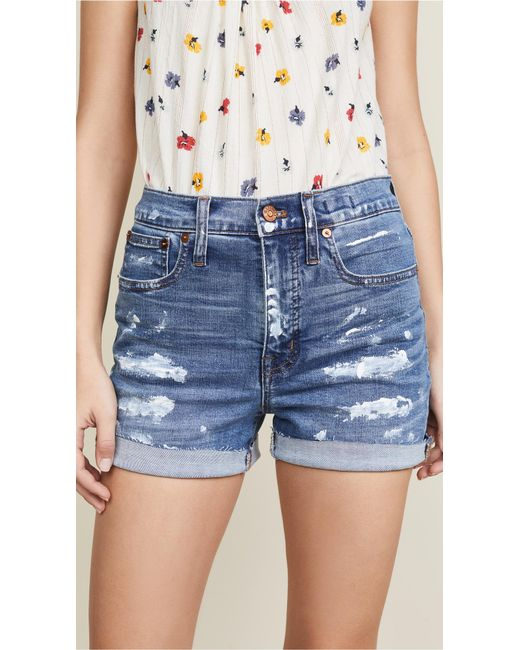 Madewell Blue High Rise Denim Shorts With Paint Spatters