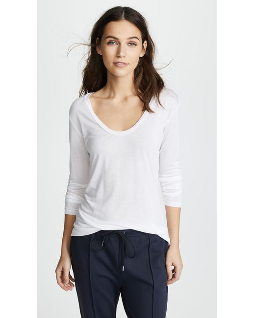L'Agence - White Long Sleeve Tee - Lyst