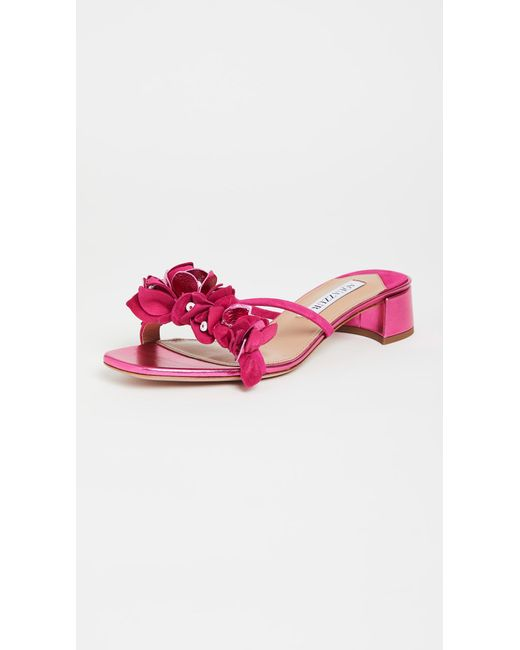 Aquazzura Multicolor Bougainvillea 30mm Slide Sandals
