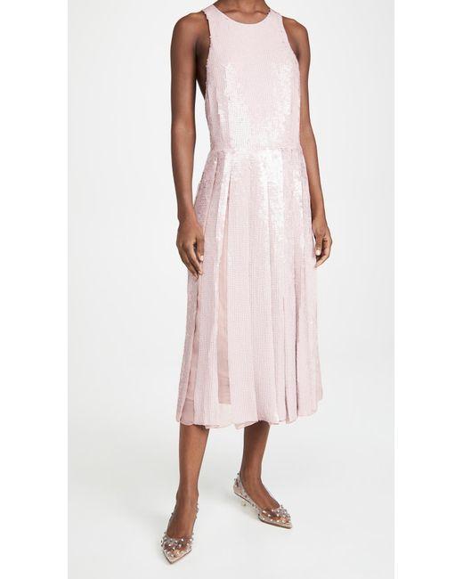 Tibi Pink Eclair Sequin Beading Halter Dress