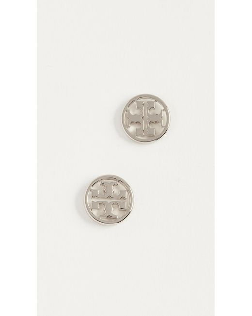 Tory Burch - Metallic Logo Circle Stud Earrings - Lyst