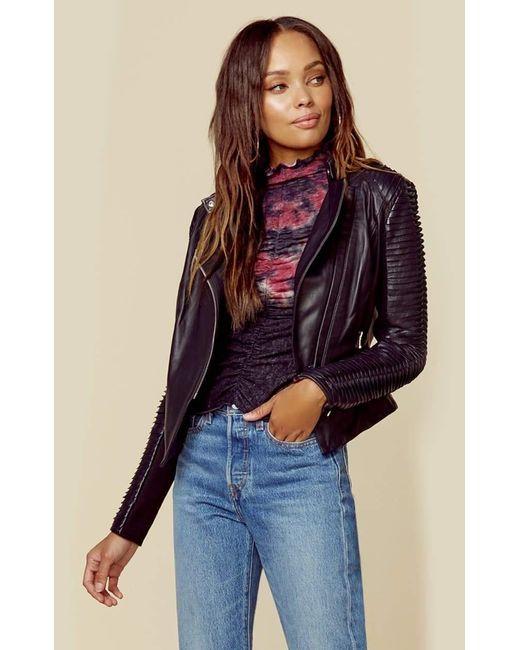 Lamarque Black Azra Leather Moto Jacket