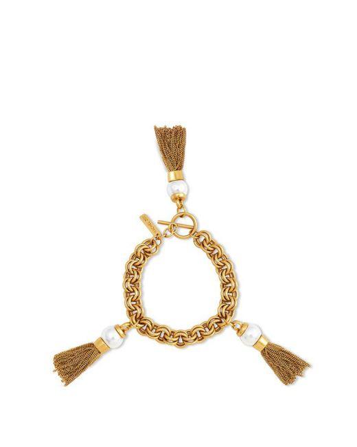 Rachel Zoe | Metallic Kaylee Sphere Pendant Tassel Bracelet | Lyst