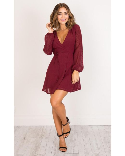 Showpo | Red Across The Atlantic Dress In Wine | Lyst