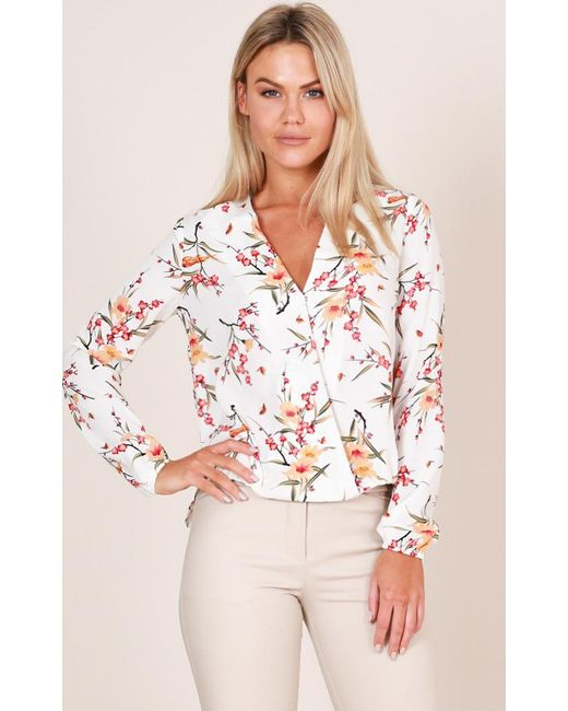 Showpo - Time To Wine Down Top In White Floral - Lyst