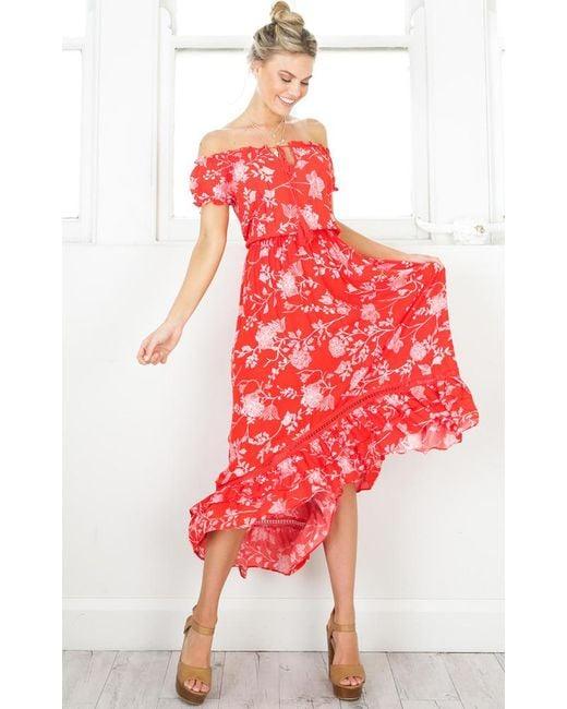 Showpo | Salsa Salsa Maxi Dress In Red Floral | Lyst