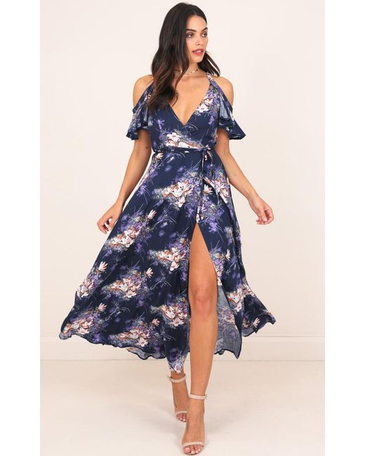 Showpo   Blue In The End Maxi Dress In Navy Floral   Lyst