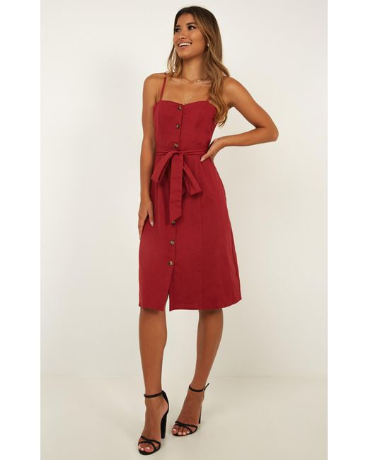4a8a089f54c0 ... Showpo - Red Nothing But You Dress In Chilli Linen Look - Lyst ...