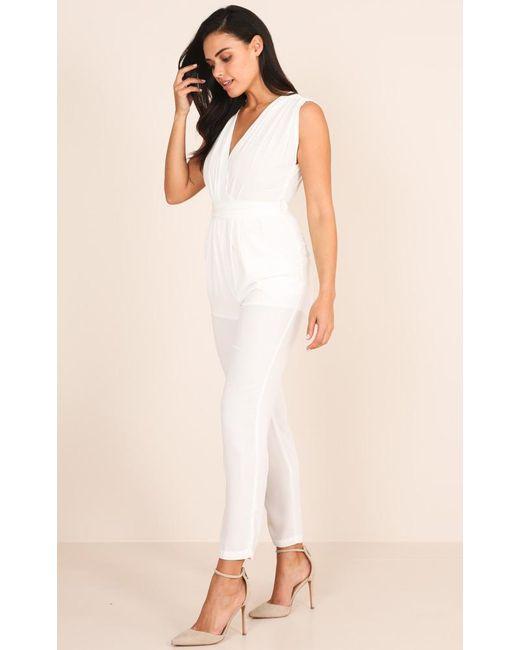 38ae1274029 ... Showpo - Workaholic Jumpsuit In White - Lyst ...
