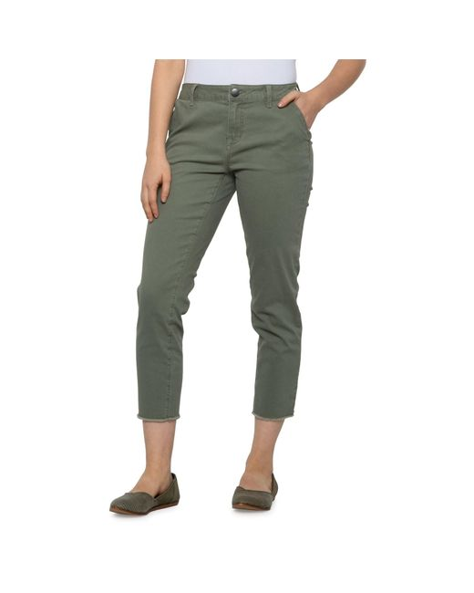 1822 Denim Green Frayed Hem Crop Pants