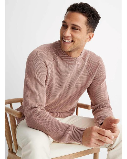 HUGO Pink Sdip Piqué Sweater for men