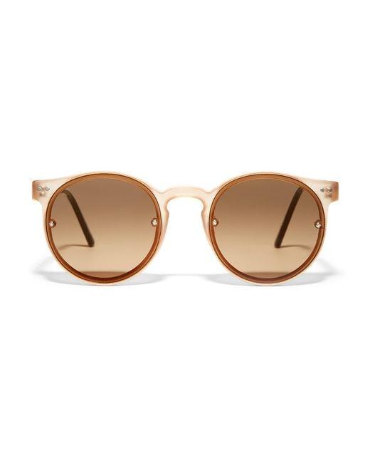 Spitfire Brown Post Punk Round Sunglasses