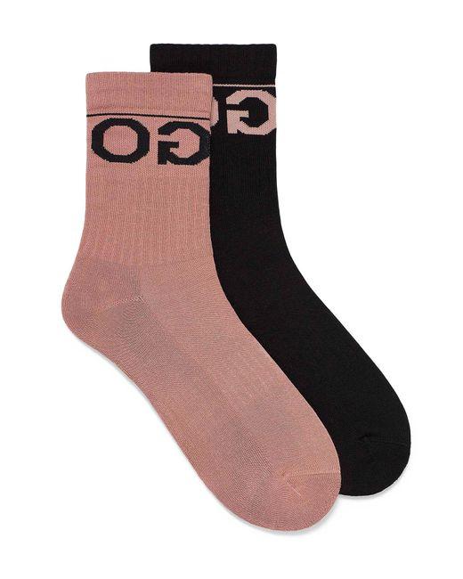 HUGO Black Contrast Logo Ribbed Socks 2 for men
