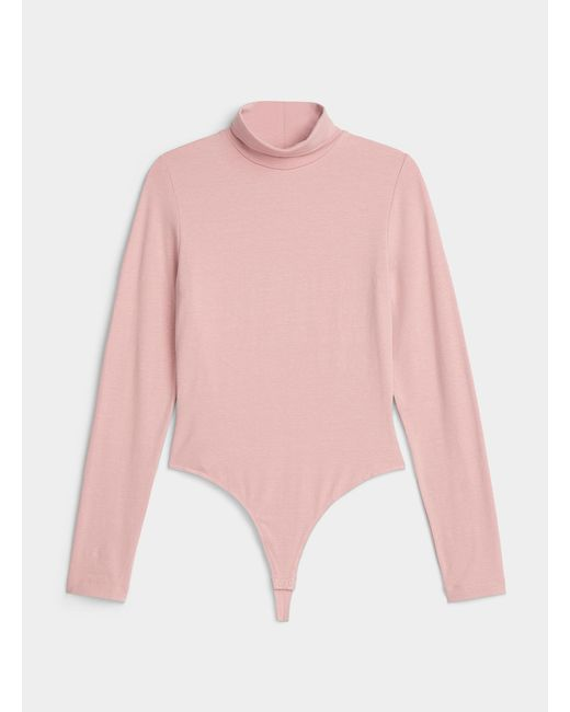 Icône Pink Turtleneck Jersey Bodysuit