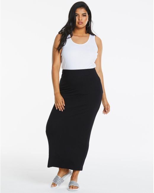 Simply Be - Black Stretch Jersey Tube Maxi Skirt - Lyst