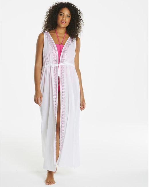 Simply Be - White Sleeveless Beach Kimono - Lyst