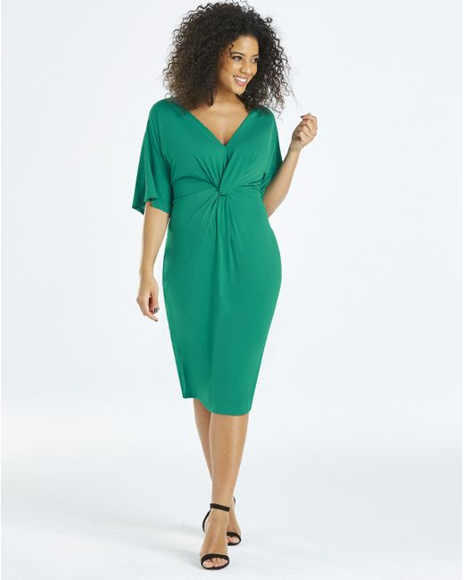 Simply Be - Green Twist Knot Midi Dress - Lyst