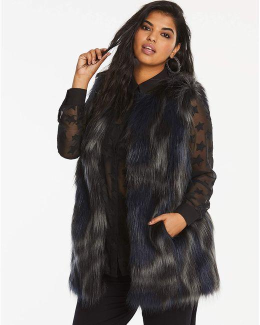 Simply Be - Black Faux Fur Gilet - Lyst