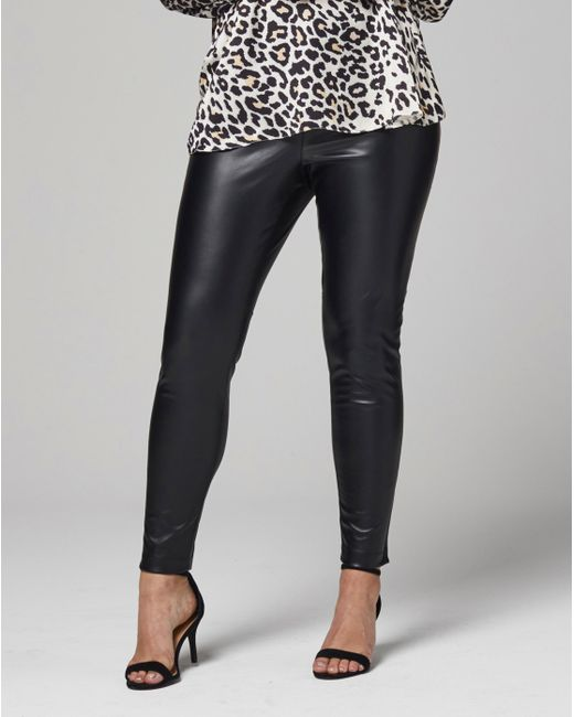 Simply Be - Black Stretch Pu Zipper Pants - Lyst