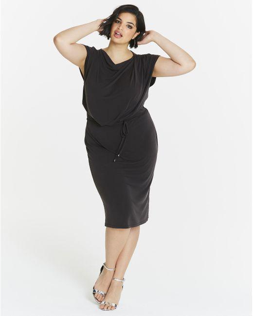Simply Be - Black Oasis Drape Column Dress - Lyst