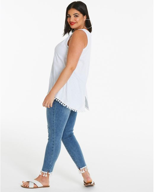 Simply Be - White Pom Pom Tank Top - Lyst