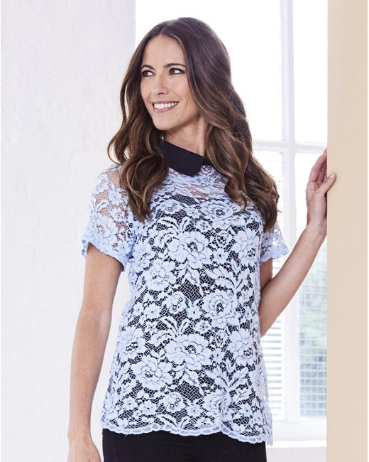 Simply Be - Blue Contrast Collar Lace Top - Lyst