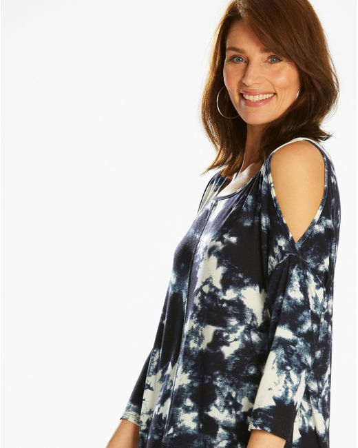 Womens Navy Print Dip Back Tunic Simply Be